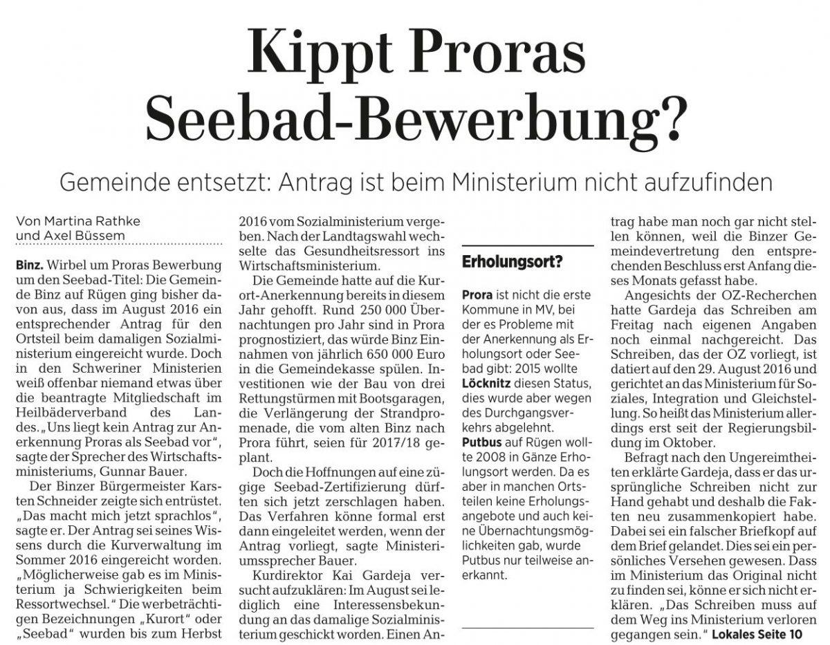Neuigkeiten aus Binz und Prora (2/2017)