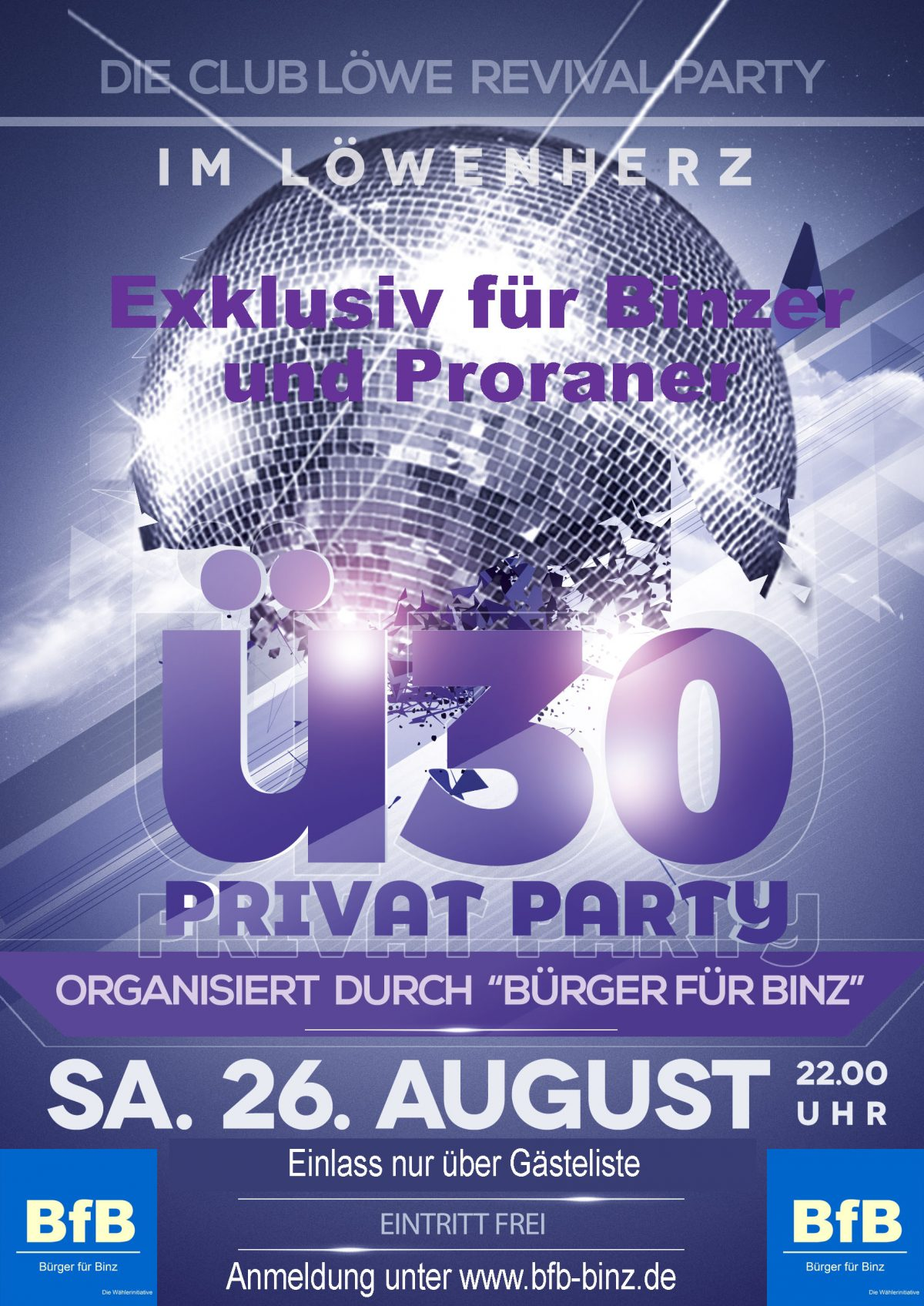 BfB -Ü30- Sommerparty im Löwenherz / Löweparty am 26. August 2017