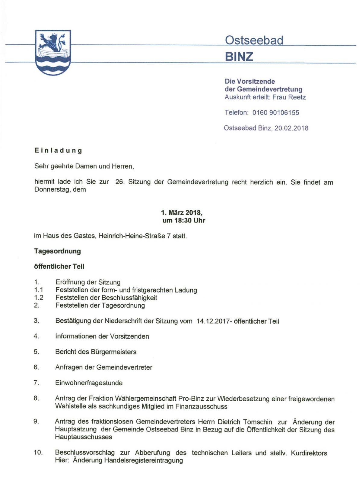 Gemeindevertretersitzung 01.03.18